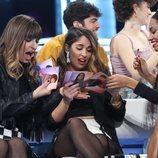Maialen, Anaju y Nia ojean los discos en la Gala 6 de 'OT 2020'