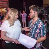 Blas Cantó conversa con Nicoline Refsing en el primer ensayo para Eurovisión 2020