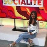 Alexia Rivas, reportera de 'Socialité', posa en el plató del programa