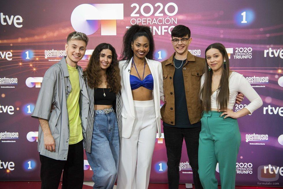 Hugo, Anaju, Nia, Flavio y Eva en la rueda de prensa de 'OT 2020'