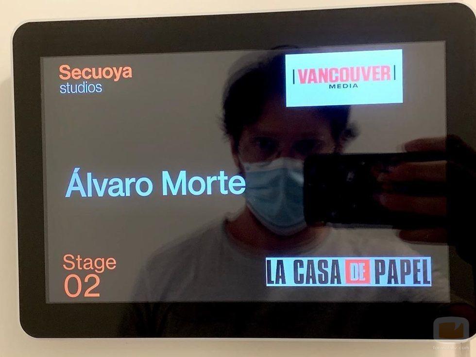 Álvaro Morte en el rodaje de la Parte 5 de 'La Casa de Papel'