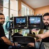 Cristobal Garrido y Adolfo Valor en el rodaje de 'Reyes de la noche'