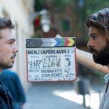 Carlos Cuevas y Jordi Coll graban una escena de la temporada 2 de 'Merlí. Sapere Aude'