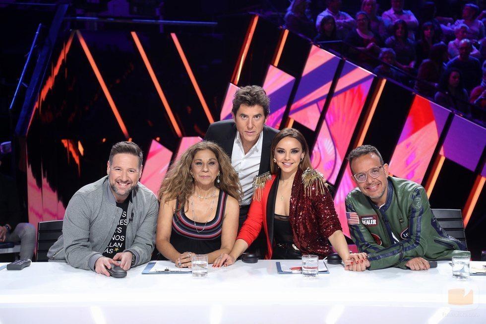 El jurado y el presentador de 'Tu cara me suena 8' en la Gala 12