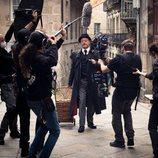 Jean Reno en el rodaje de 'Un asunto privado'