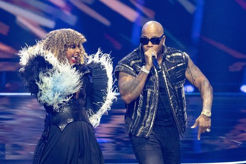 Senhit, representante de San Marino, en la final de Eurovisión 2021 junto a Flo Rida