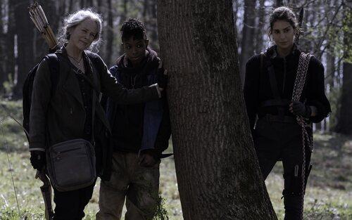 Melissa McBride, Angel Theory y Nadia Hilker en la temporada 11 de 'The Walking Dead'