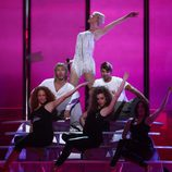 Soraya en un ensayo de Eurovisión