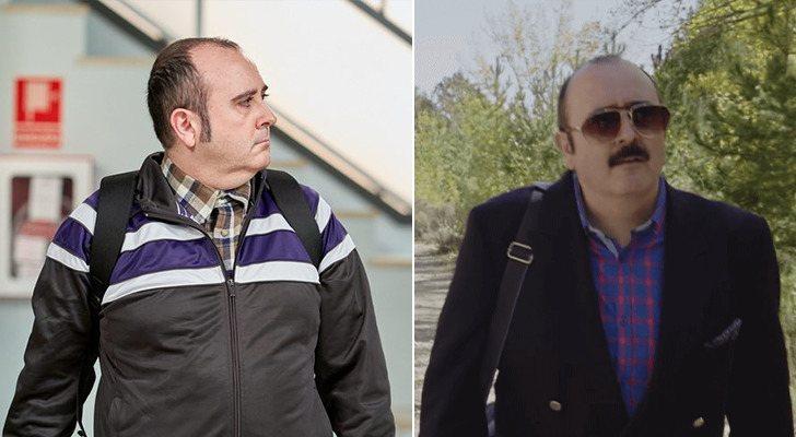 Carlos Areces dans 'La que se avecina' (à gauche) et dans 'El pueblo' (à droite)