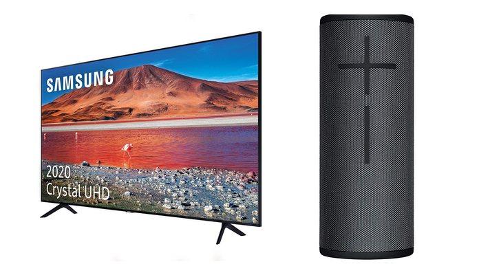 Téléviseur Samsung et haut-parleur portable