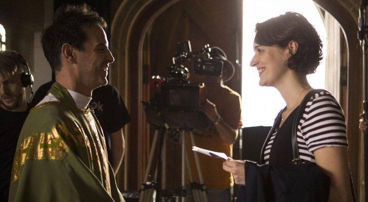 Andrew Scott et Phoebe Waller-Bridge sur le tournage de 'Fleabag'