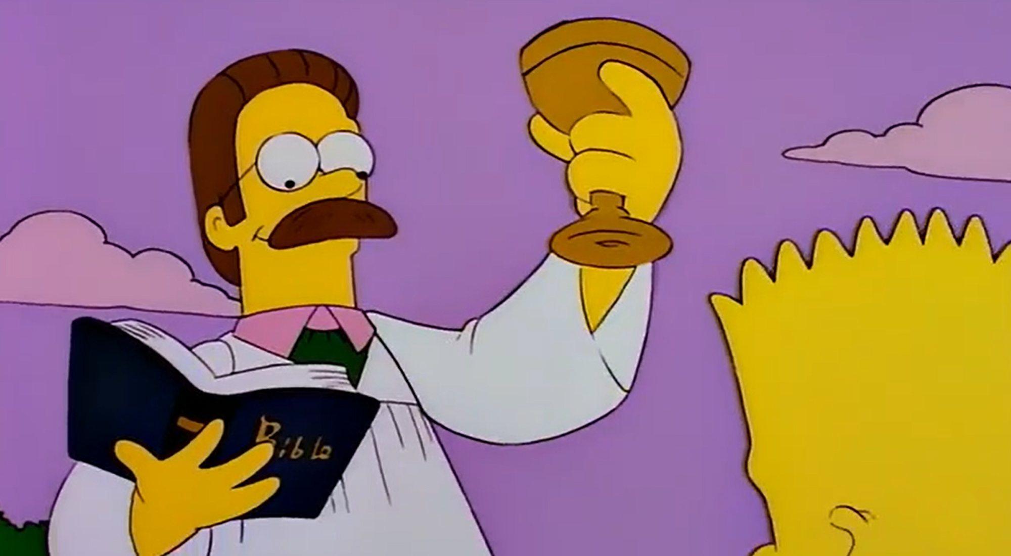 Ned Flanders, sur le point de baptiser Bart dans l'épisode 7x03 de 'The Simpsons'