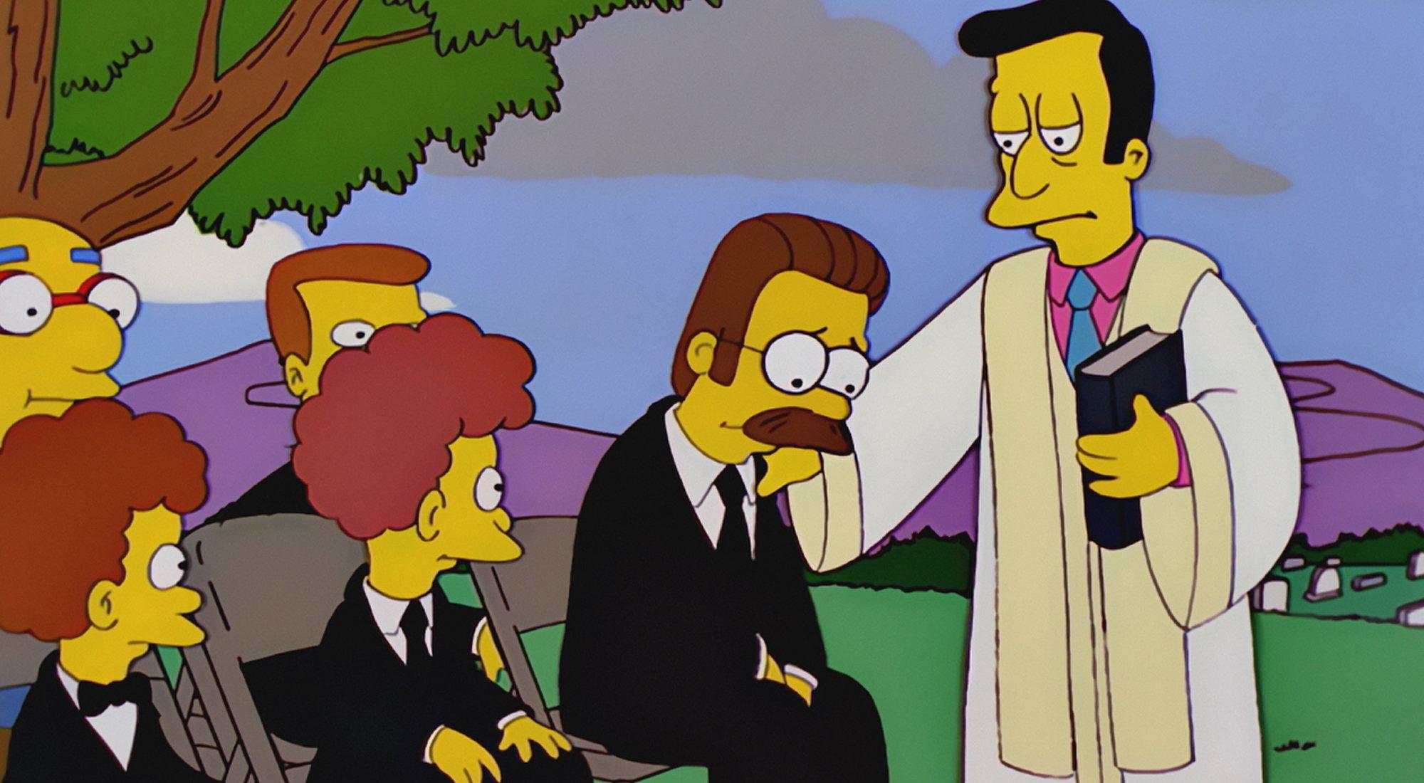 Lovejoy réconforte la Flandre dans `` Les Simpsons '' 11x14