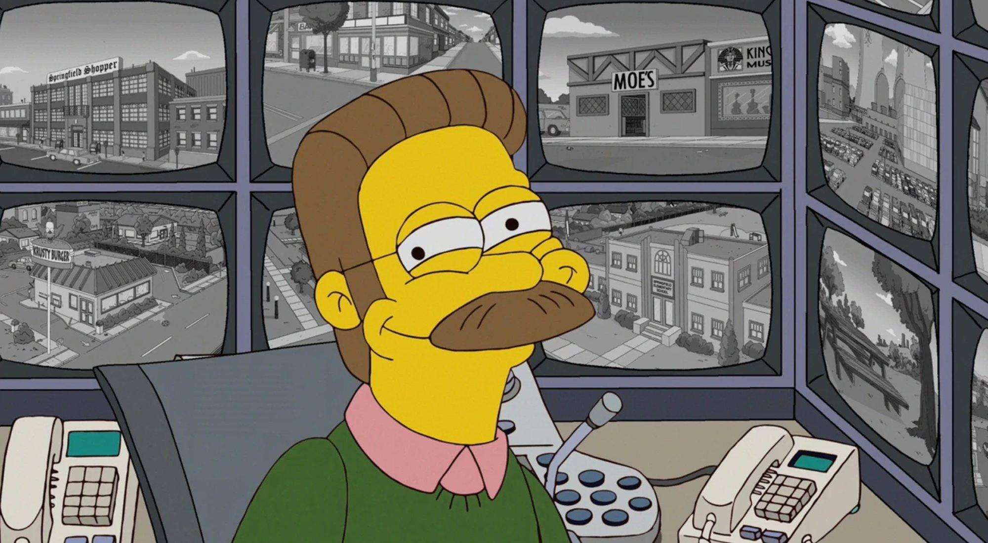 Flanders, heureux de garder un œil sur ses voisins dans `` Les Simpsons '' 21x20