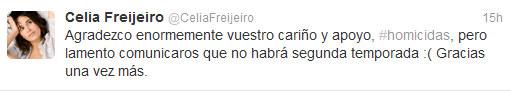 Celia Freijeiro confirma la cancelación de 'Homicidios'