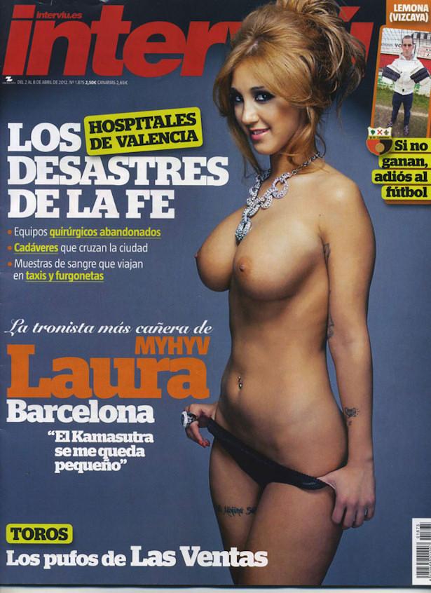 Portada de Interviú con Laura Barcelona desnuda.