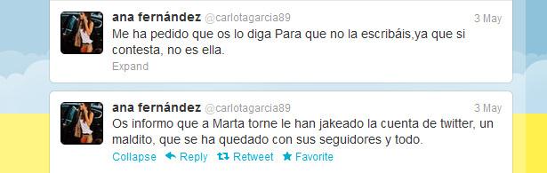 Ana Fernández informa del hackeo de la cuenta de Marta Torné