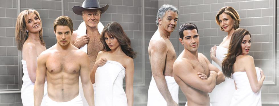 Cartel promocional de la serie 'Dallas' de TNT con Larry Hagman, Jesse Metcalfe, Josh Henderson, Patrick Duffy, Brenda Strong, Linda Gray, Jordana Brewter y Julie Gonzalo desnudos