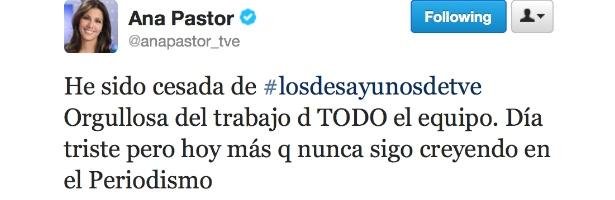 Ana Pastor anuncia en Twitter su cese de TVE
