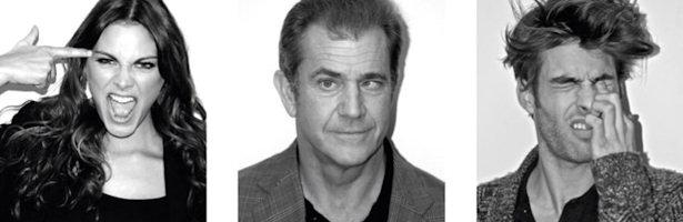 Amaia Salamanca, Mel Gibson y Jon Kortajarena posan para El Hombre de Negro