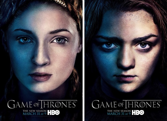 Sansa y Arya Stark, interpretadas por Sophie Turner y Maisie Williams