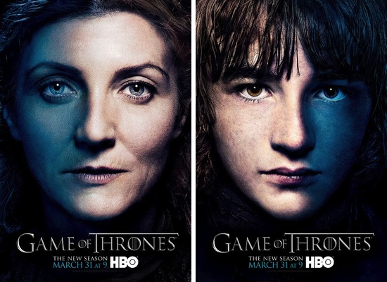 Catelyn y Bran Stark, interpretados por Michelle Fairley y Isaac Hempstead Wright 	Isaac Hempstead Wright
