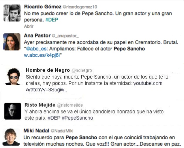 Los famosos se despiden de Pepe Sancho