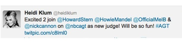 Heidi Klum Twitter oficial