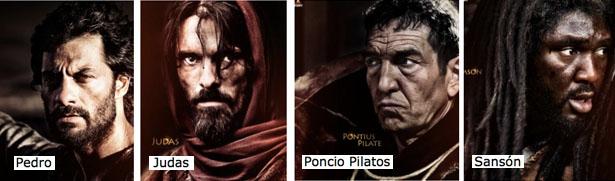 Pedro, Judas, Poncio Pilatos y Sansón