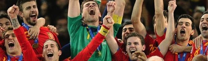 La Selección Española tras ganar el Mundial de Fútbol de Sudáfrica 2010
