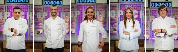 Antoni Arrabal, Antonio Canales, Bárbara Amorós, Begoña Rodrigo y Borja Letamand en 'Top Chef'