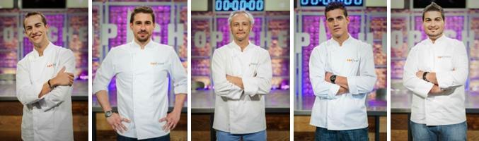 Iván Hernández, Javier Estévez, Jesús Almagro, Miguel Cobo y Vicente Cubertorer en 'Top Chef'