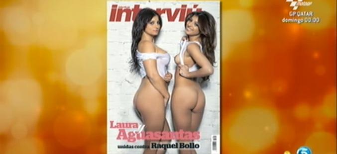 Captura de imagen de la portada de Aguasantas y su hermana Laura en Interviú, 'Sálvame deluxe'