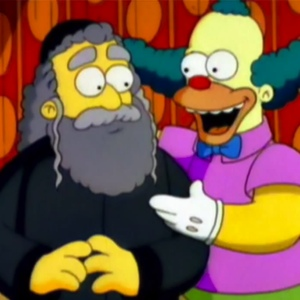 Krusty con su padre el rabino