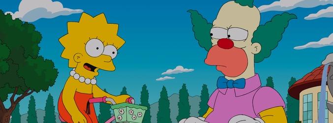 Lisa junto a Krusty el payaso