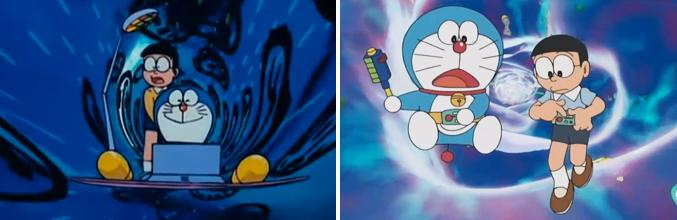 Doraemon y Nobita realizando viajes en el tiempo