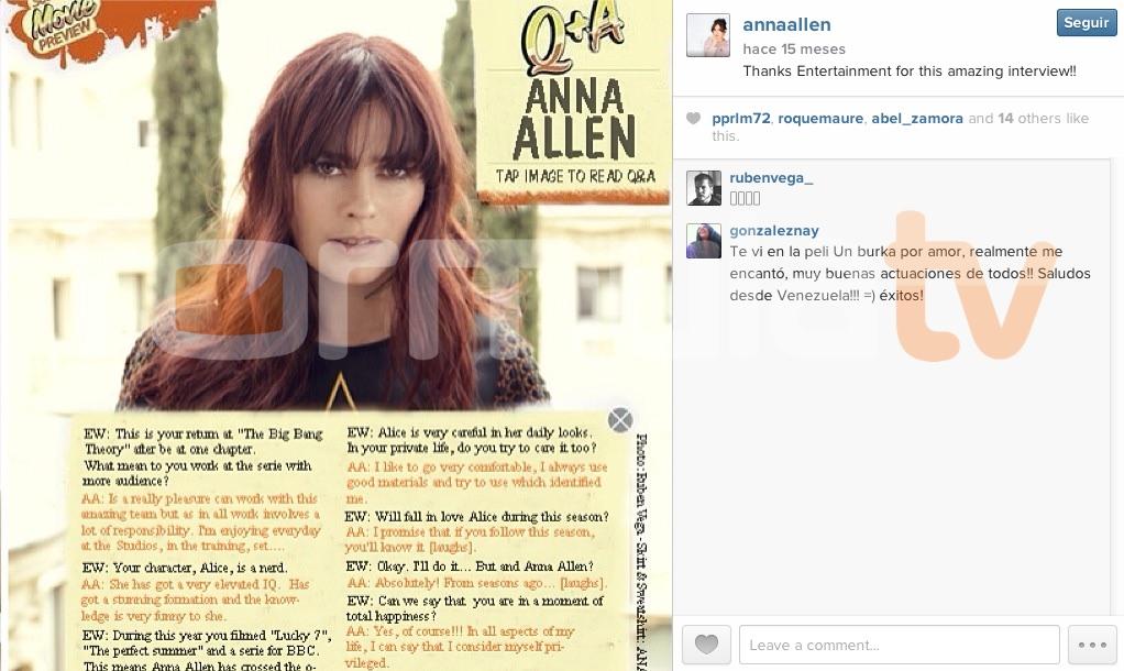 Entrevistas ficticias en revistas internacionales con Anna Allen