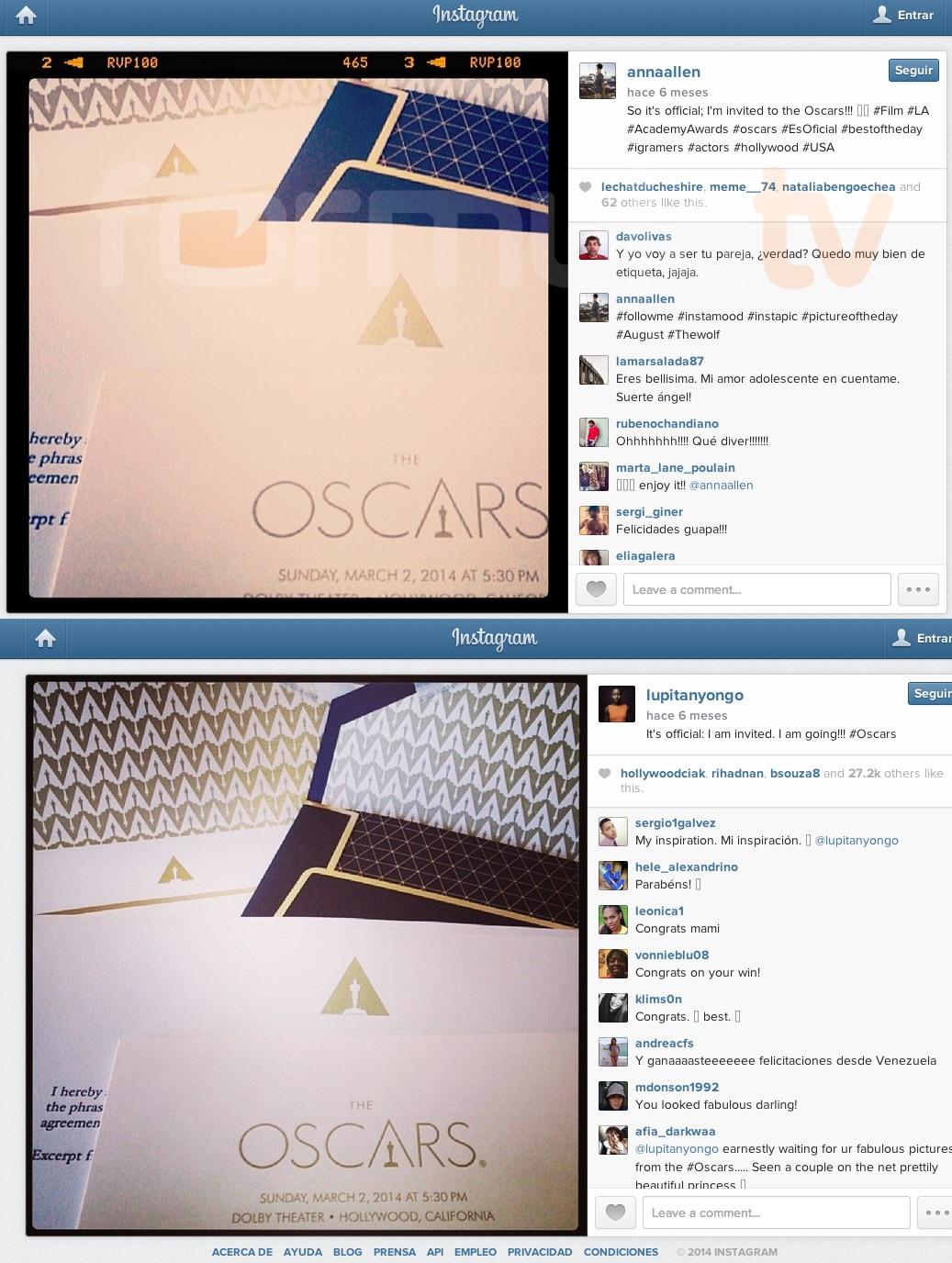 El sobre de Anna Allen y el de Lupita Nyong'o