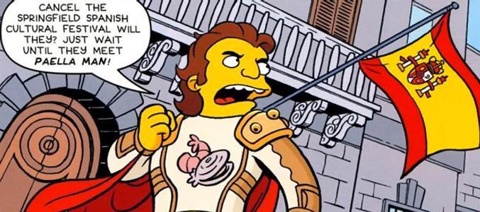 'Los Simpson' crean a Paella Man, un nuevo superhéroe español defensor de la cultura española