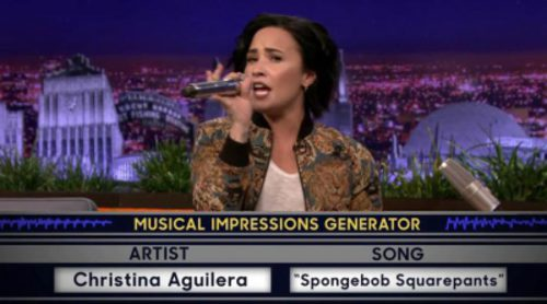 La impresionante imitación de Demi Lovato a Christina Aguilera cantando la sintonía de 'Bob Esponja'
