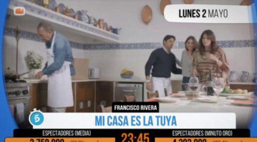 """El momento de la visita de Fran Rivera a Bertín Osborne que fue """"Minuto de oro"""" en 'Mi casa es la tuya'"""