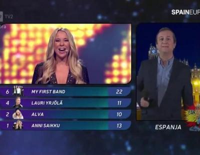 Federico Llano da los puntos en la preselección de Eurovisión de Finlandia y tontea con la presentadora