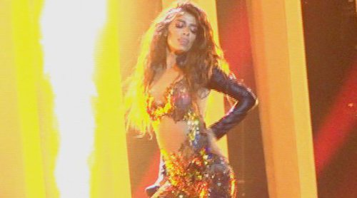 """Eurovisión 2018: Eleni Foureira cantando """"Fuego"""" (Chipre) en el ensayo general de la Primera Semifinal"""