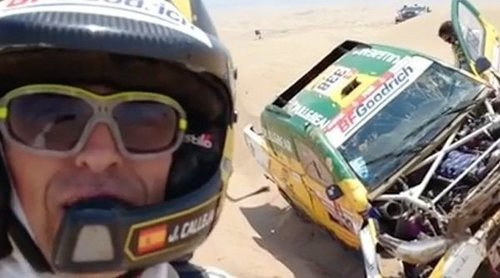Jesús Calleja, obligado a abandonar el Dakar 2019 tras sufrir un aparatoso accidente