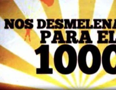 Edurne, Susanna Griso y Carlos Sobera con el programa 1000 de 'SLQH'