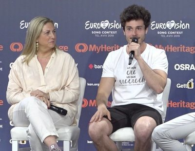 """Eurovisión 2019: Rueda de prensa completa de Miki Nuñez tras el primer ensayo de """"La venda"""""""