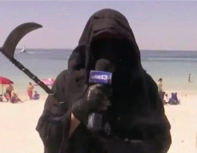 La muerte con guadaña denuncia en televisión la reapertura de las playas en Florida