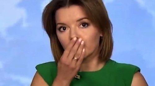 Una presentadora de informativos en Ucrania pierde un diente en directo