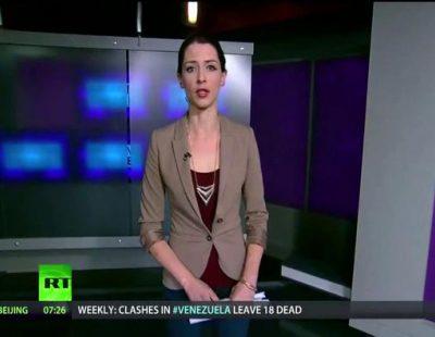 Así protestaba Abby Martin, presentadora de Russia Today