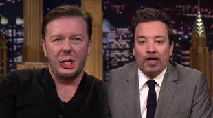 Ricky Gervais y Jimmy Fallon se cambian los labios para cantar un villancico